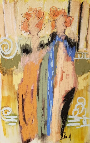 """Orange And Blue"" Original Pastel by Lu Harris, Studio at Opera Alley"