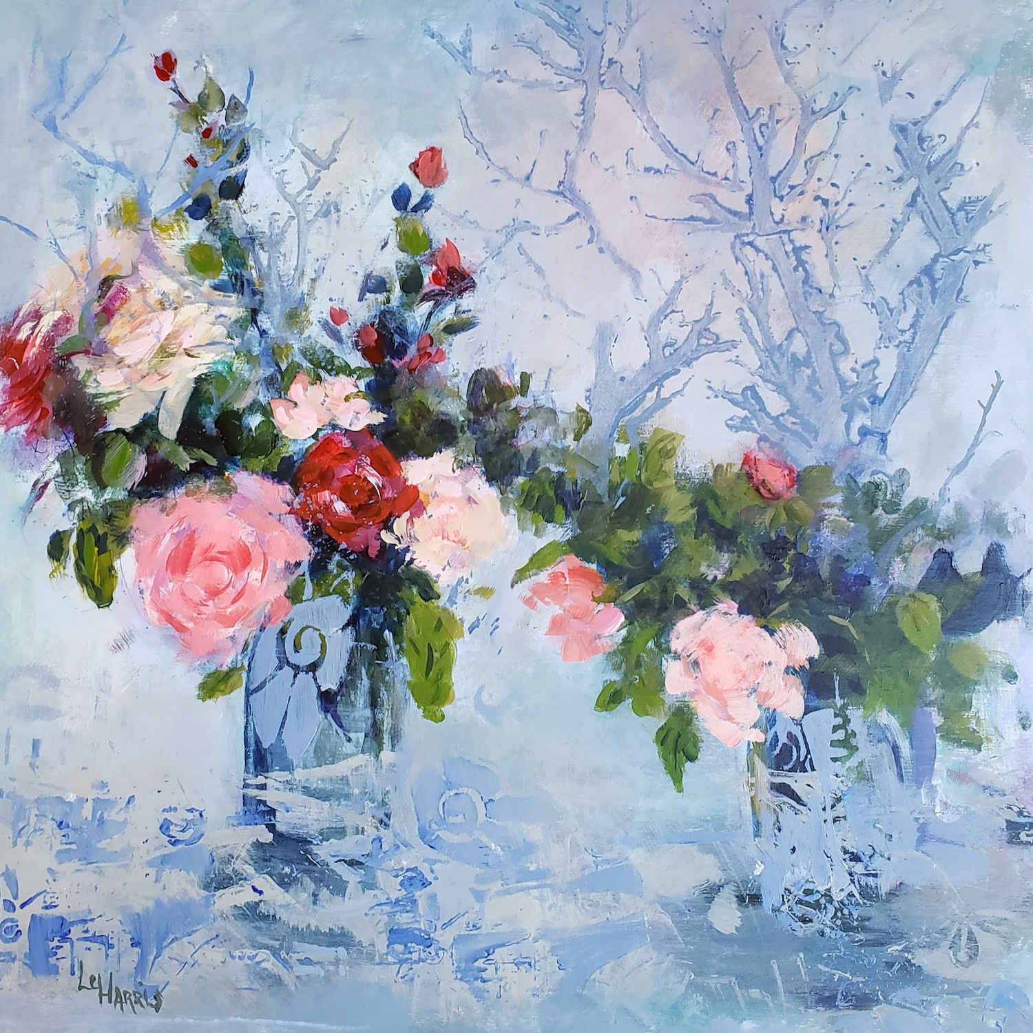 Roses In Winter Original Acrylic by Lu Harris