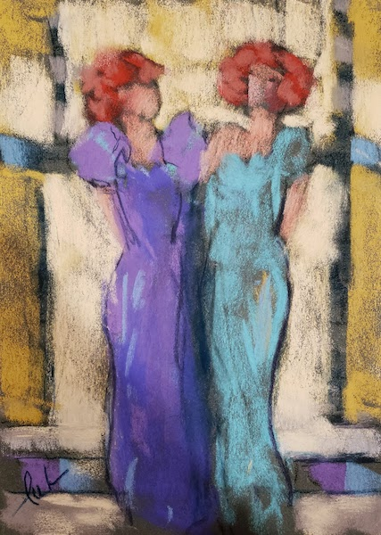 """""""Sisters"""" Original Pastel by Lu Harris, Studio at Opera Alley"""