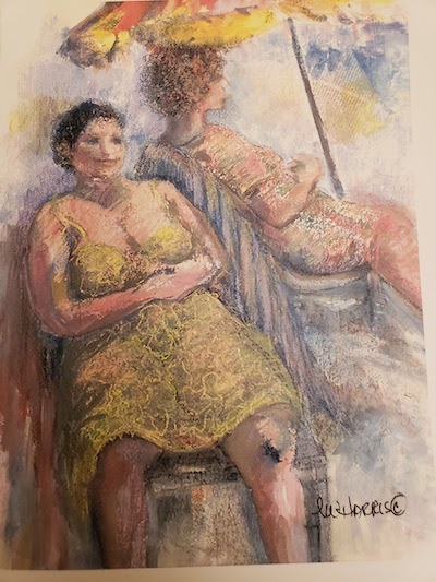 """Two Ladies At The Beach"" Original Pastel by Lu Harris, Studio at Opera Alley"