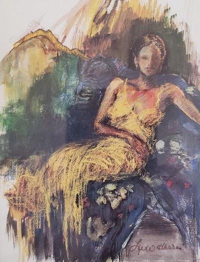 """Girl in Yellow Slip"" Original Pastel by Lu Harris, Studio at Opera Alley"